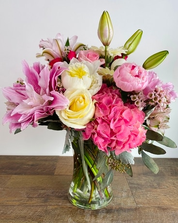 Pink and Powerful Flower Arrangement