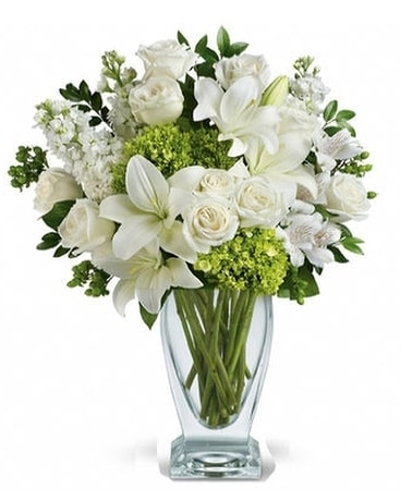 moments of beauty white flower bouquet in santa monica ca