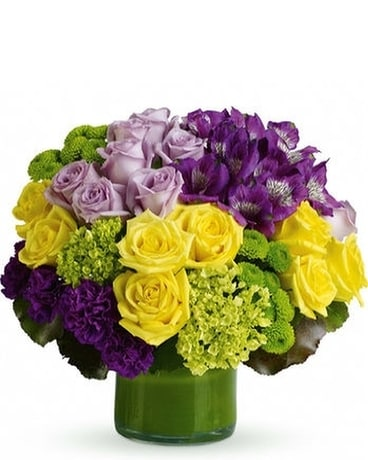 Simply Splendid Lavender & Yellow Roses