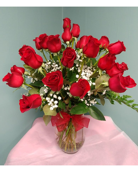 TWO DOZEN RED ROSES VASED