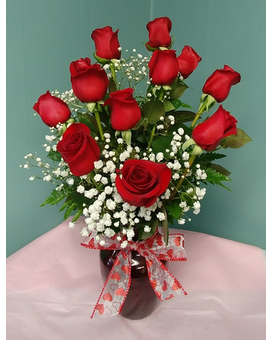 DOZEN RED ROSES VASED (LOCAL DELIVERY ONLY)