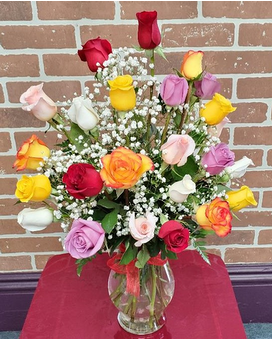 TWO DOZEN MIXED COLORED ROSES Flower Arrangement