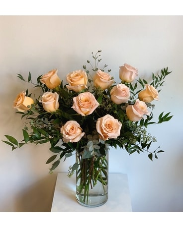 AVOF Peach Roses Flower Arrangement