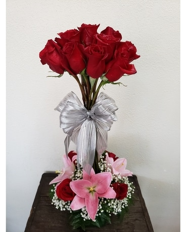 J&S Red Rose Topiary Flower Arrangement