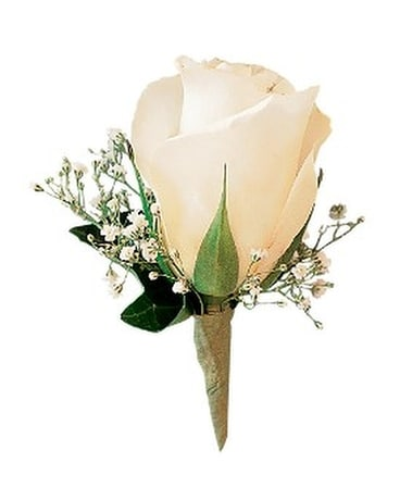 White Ice Rose Boutonniere Flower Arrangement