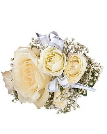 White Ice Roses Wristlet Flower Arrangement