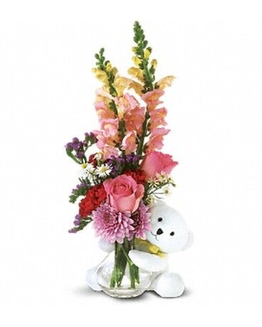 Bear Hug Bear with Pink Roses Flower Arrangement