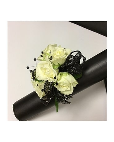 Classic Black And White Corsage In Branford Ct Myers Flower Shop