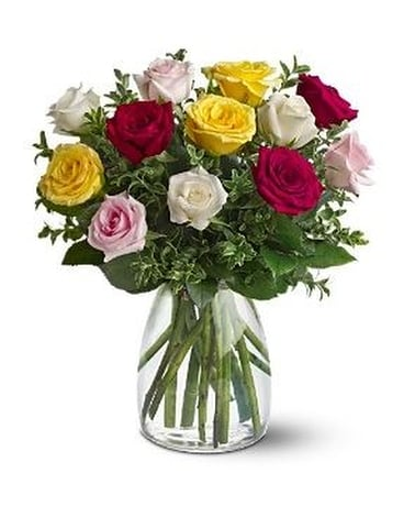 A Dozen Mixed Roses Flower Arrangement