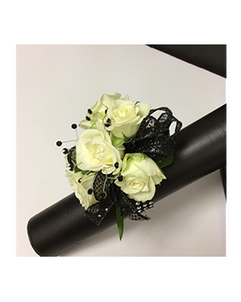 Classic Black and White Corsage Flower Arrangement
