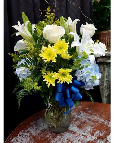 Blue Your Socks Off Flower Arrangement