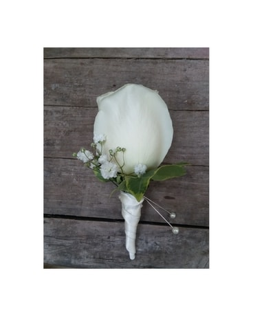 Satin Wrapped White Rose Boutonniere - $25.00 Boutonniere