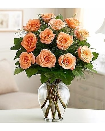 Dozen Peach Roses Flower Arrangement