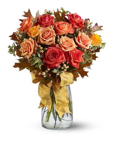 Graceful Autumn Roses Flower Arrangement