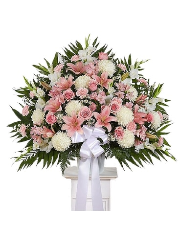 Heartfelt Sympathies Pink White Standing Basket Flower Arrangement