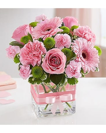 Sweetness Pink and Green Cube Flower Arrangement