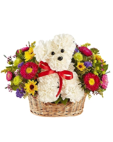 a-DOG-able in a Basket Flower Arrangement