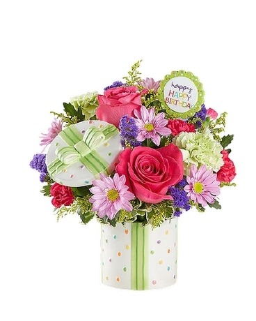 Oneco's Happy Birthday Present Flower Arrangement