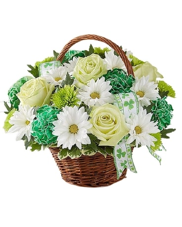 St. Patrick's Day Flowers Basket Basket Arrangement