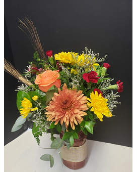 Fall Jar Flower Arrangement