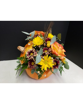 Fall Pumpkin Flower Arrangement
