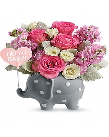 Teleflora's Hello Sweet Baby - Pink Flower Arrangement