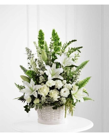 In Our Thoughts Basket Funeral Arrangement