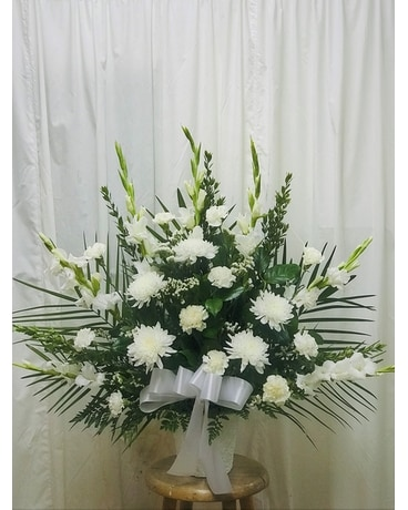 Traditional Funeral Basket Flower Arrangement