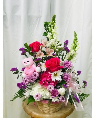 It's A Girl Basket Flower Arrangement