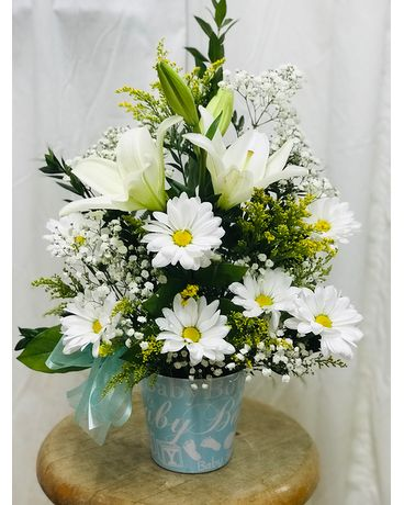 New Born Baby Boy Flower Arrangement