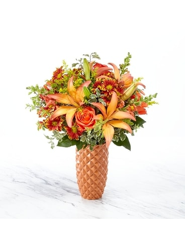Warm Amber Deluxe Flower Arrangement