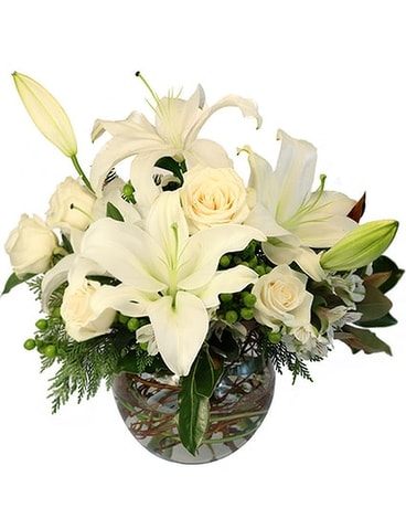 Frosty Blooms Deluxe Flower Arrangement