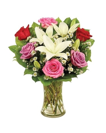Lily and Rose Romance Flower Arrangement