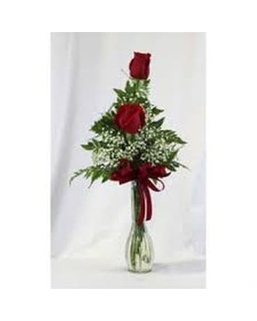 2 Roses in Bud Vase Flower Arrangement