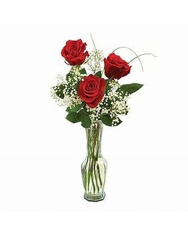 Three Roses in a Bud Vase Flower Arrangement