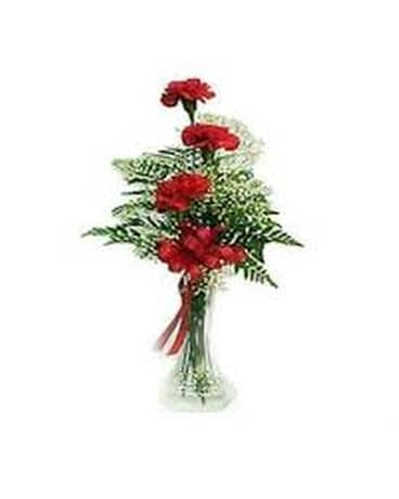 3 Carnations in a Bud Vase Flower Arrangement