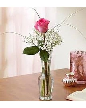 A Single Pink Rose Flower Arrangement