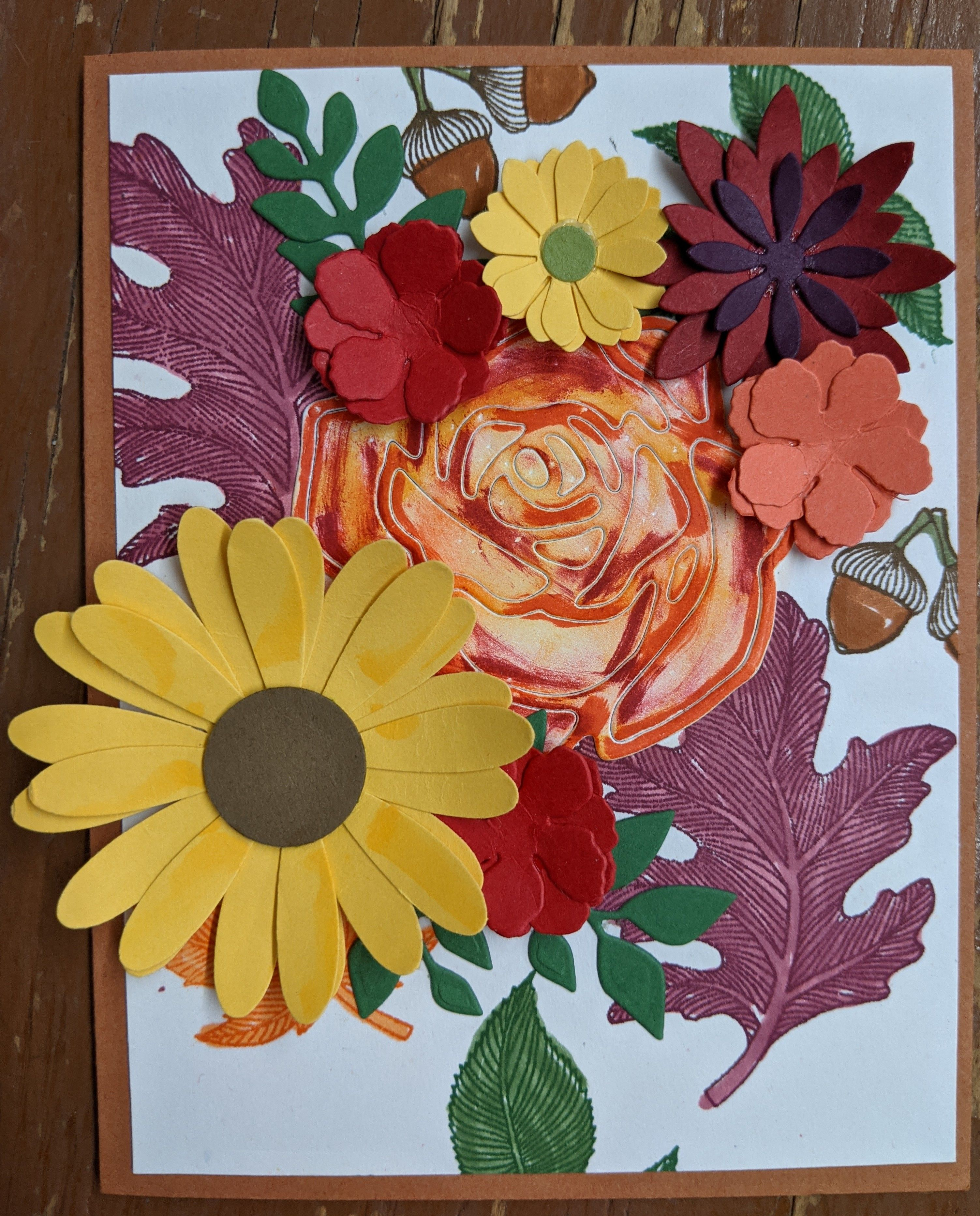 Handmade Card for Autumn in Posies