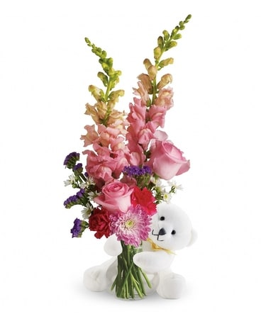 Teleflora's Bear Hug Bear with Pink Roses Flower Arrangement