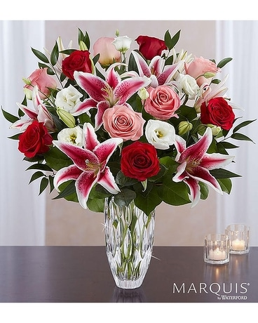 Marquis by Waterford® Blushing Rose & Lily Bouquet Flower Arrangement