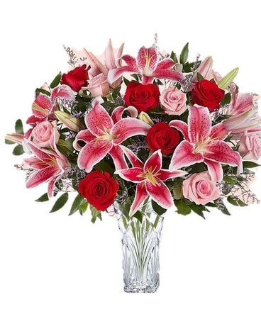Marquis by Waterford Blushing Rose &  Lily Bouquet Flower Arrangement