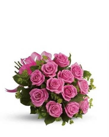 Dozen Pink Cut Roses Hand Tied