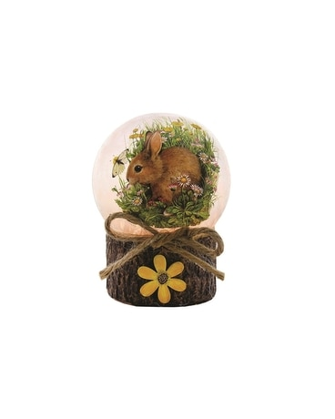 Spring Bunny Pre-Lit Glass Ball with Base Gifts
