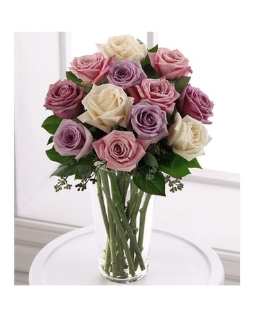Pastel Mixed Roses Flower Arrangement
