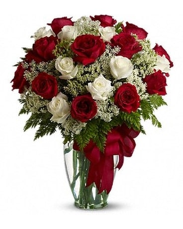 Red and White Roses Flower Arrangement