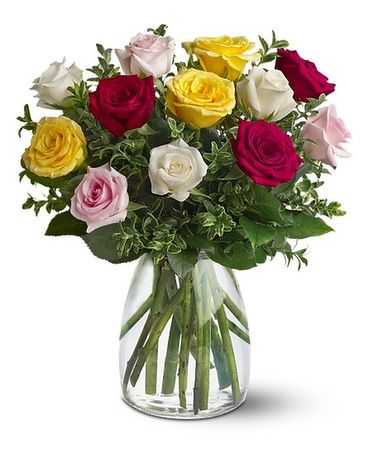 A Dozen Mixed Roses Flowers