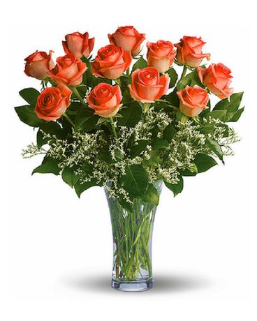 12 Long Stemmed Orange Roses Flowers