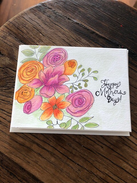 Hand painted water colour Mother's Day