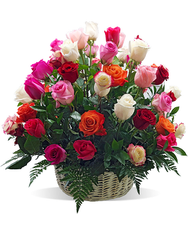 Simply Magnificent Rose Basket Flower Arrangement