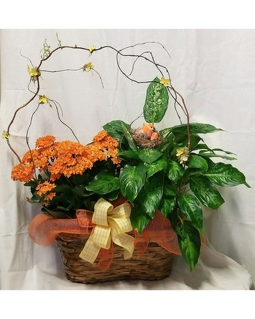 Decorated Double Planter Flower Arrangement